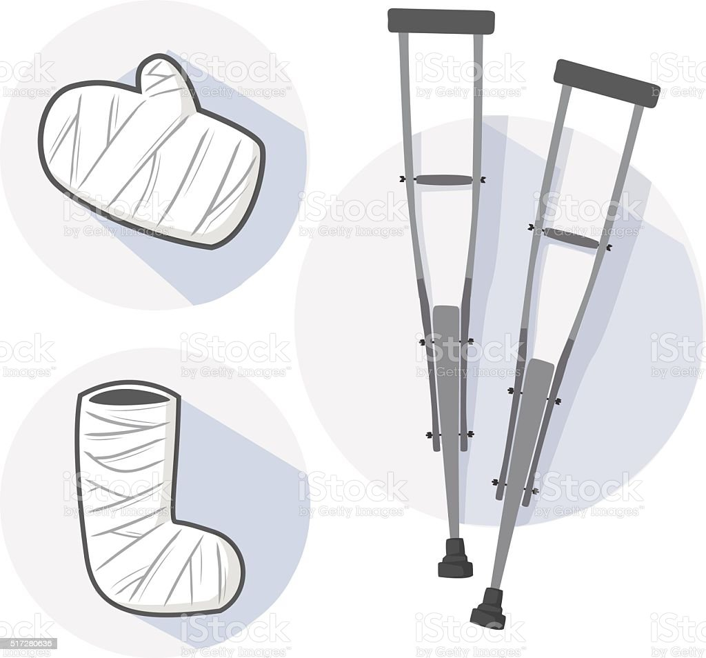 Wooden crutch and splint vector vector art illustration
