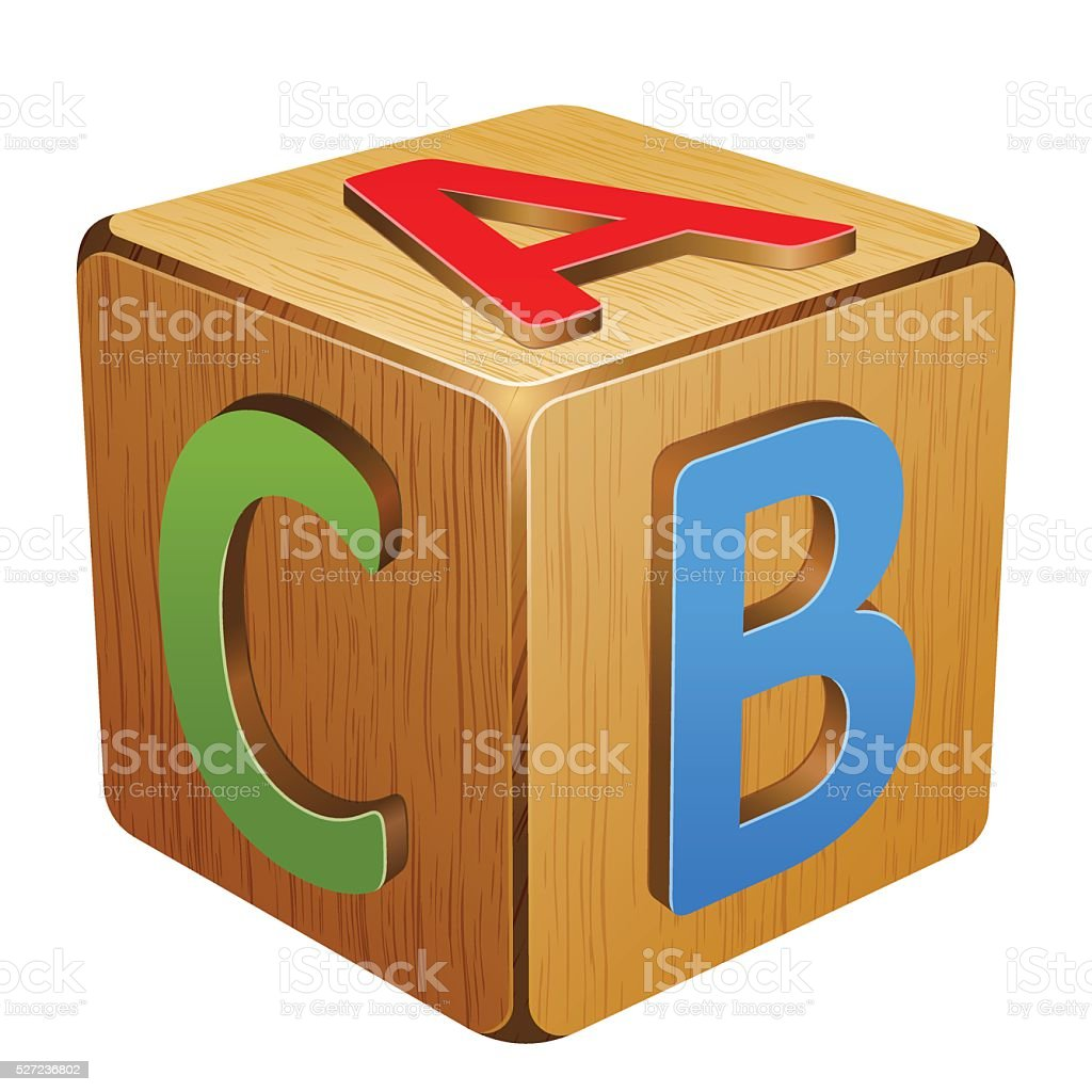wooden cube with letters A,B,C vector art illustration