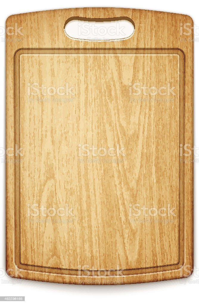 wooden cutting board on white background vector art illustration
