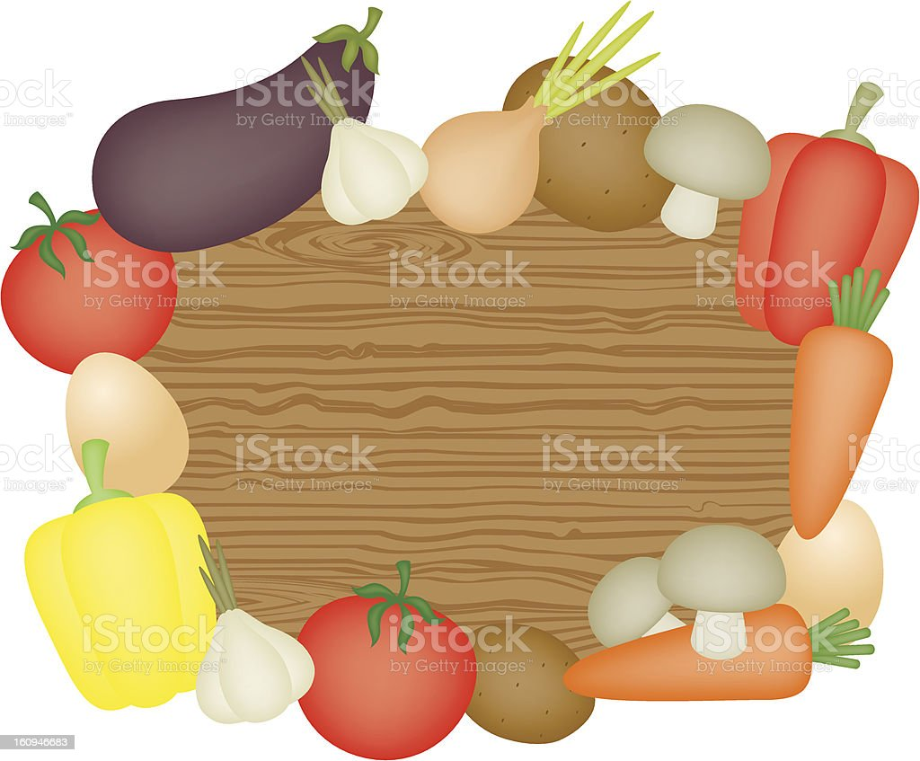 Wooden desk and vegetables royalty-free stock vector art