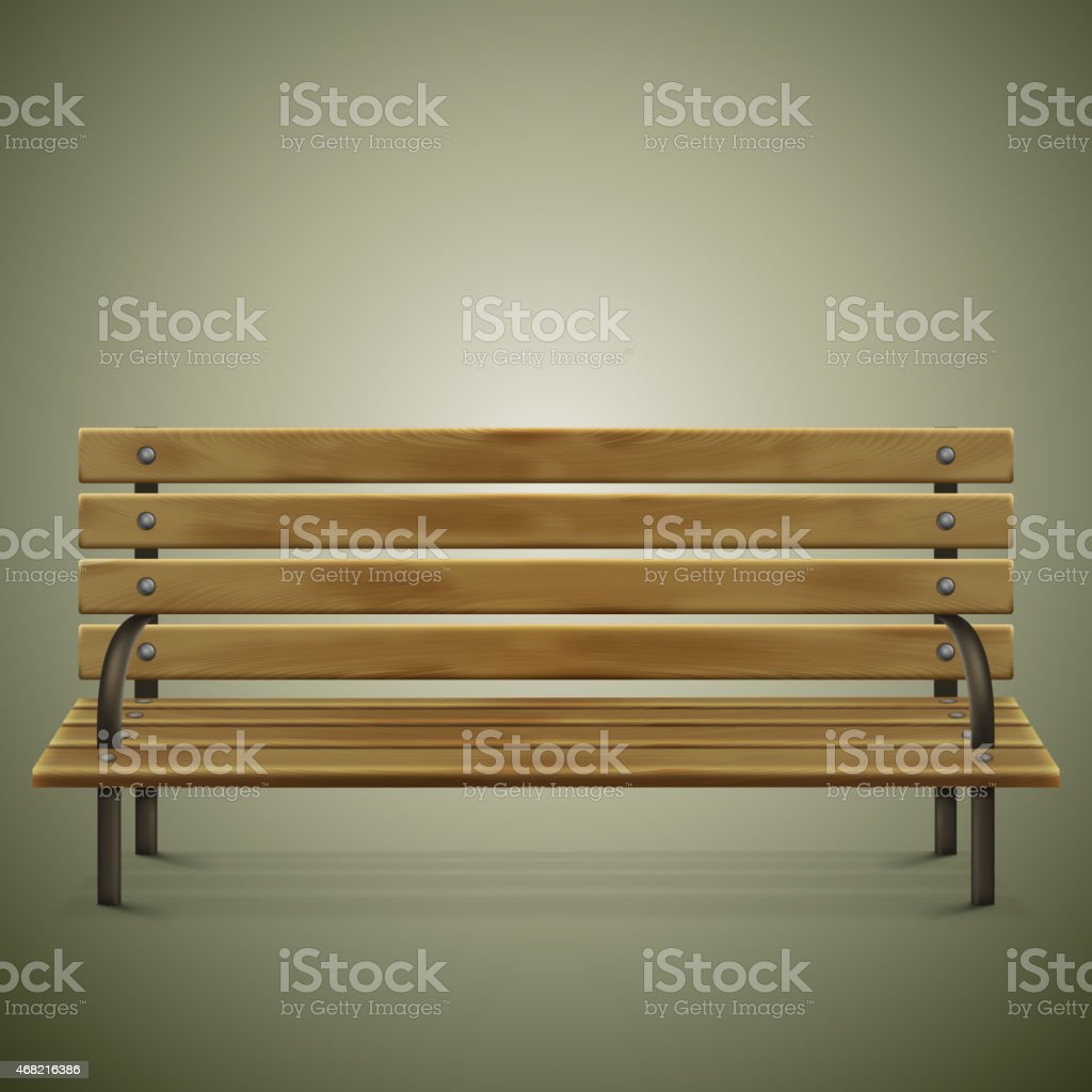 Wooden Detailed Bench On Green. vector art illustration
