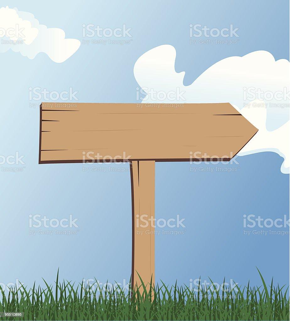 Wooden Directional Sign vector art illustration