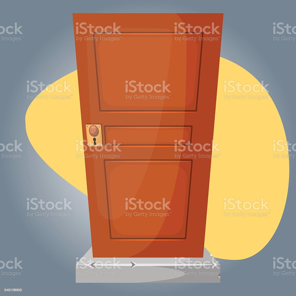 Wooden door colorful icon vector art illustration