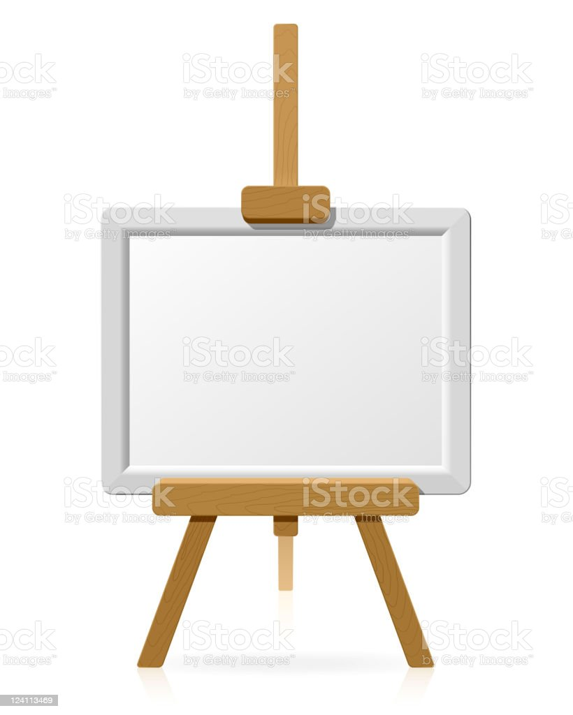 Wooden easel with blank canvas royalty-free stock vector art