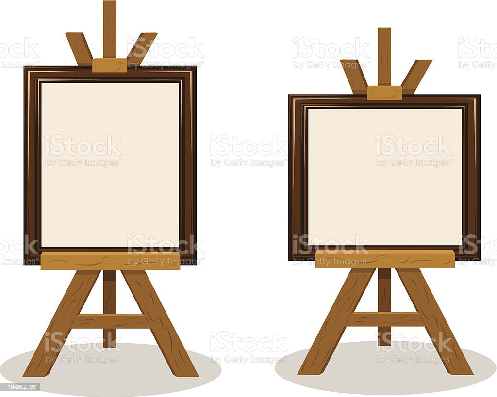 Wooden Easel with Empty Frames royalty-free stock vector art