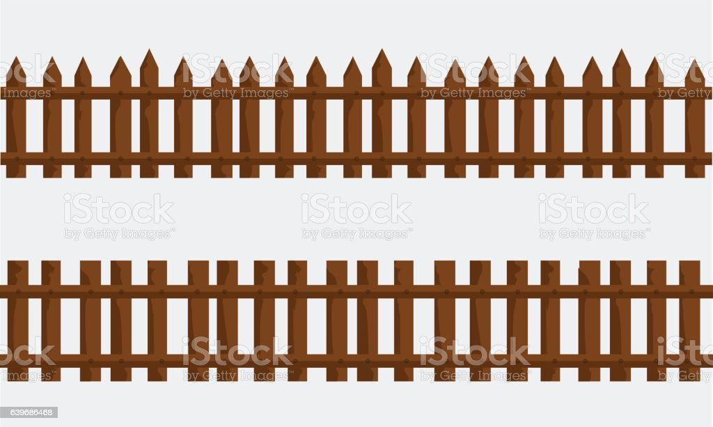 Farm Fence Clipart wooden farm fence vector with flat and solid color stock vector