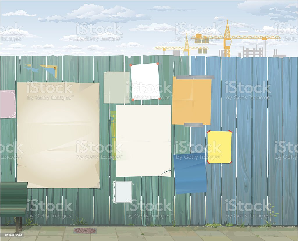 Wooden Fence and empty Posters vector art illustration
