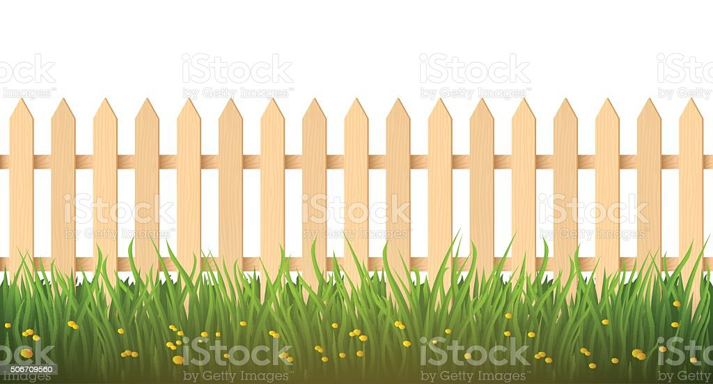 Wooden fence and grass. Design element. vector art illustration