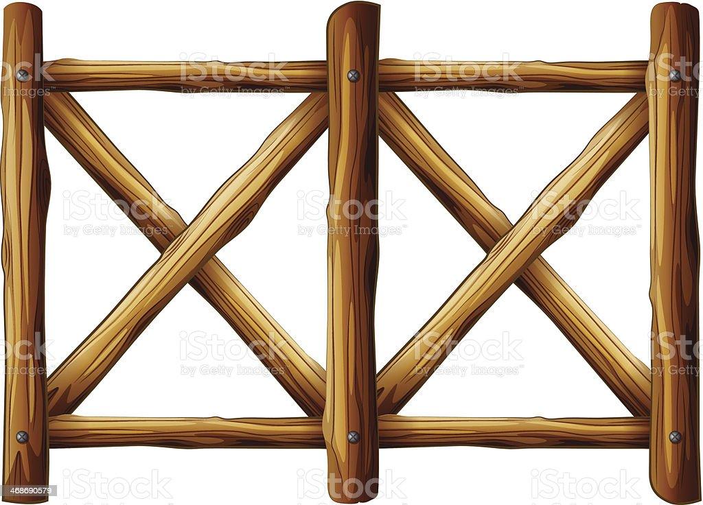 wooden fence design vector art illustration