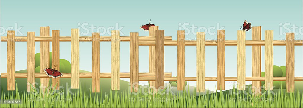 Wooden fence is in the field. vector art illustration