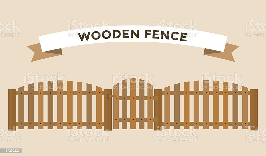 Wooden fence isolated on background vector art illustration