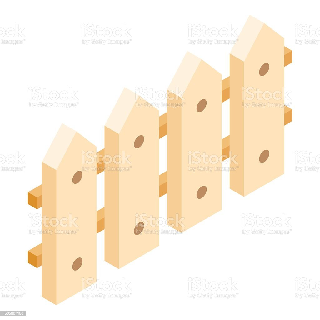 Wooden fence isometric 3d icon vector art illustration
