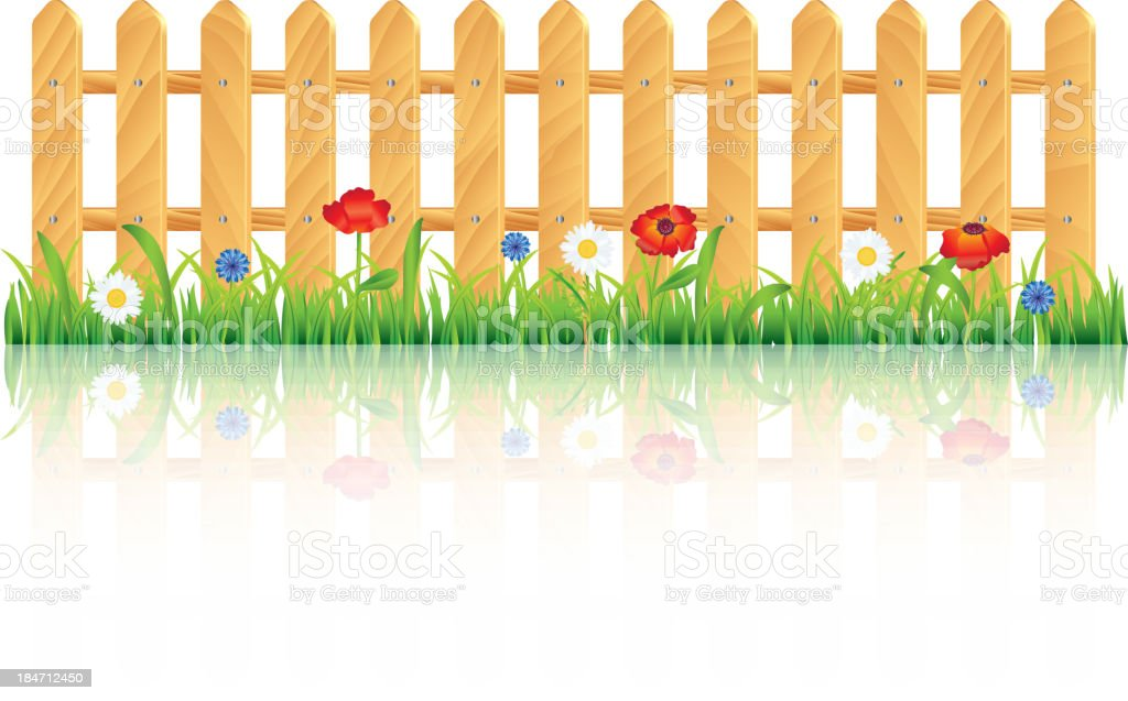 Wooden fence on grass with flowers royalty-free stock vector art