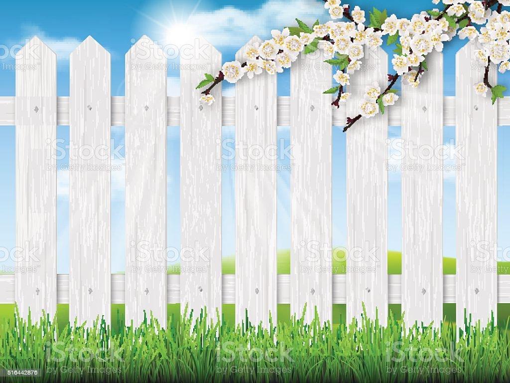 wooden fence spring tree grass vector art illustration