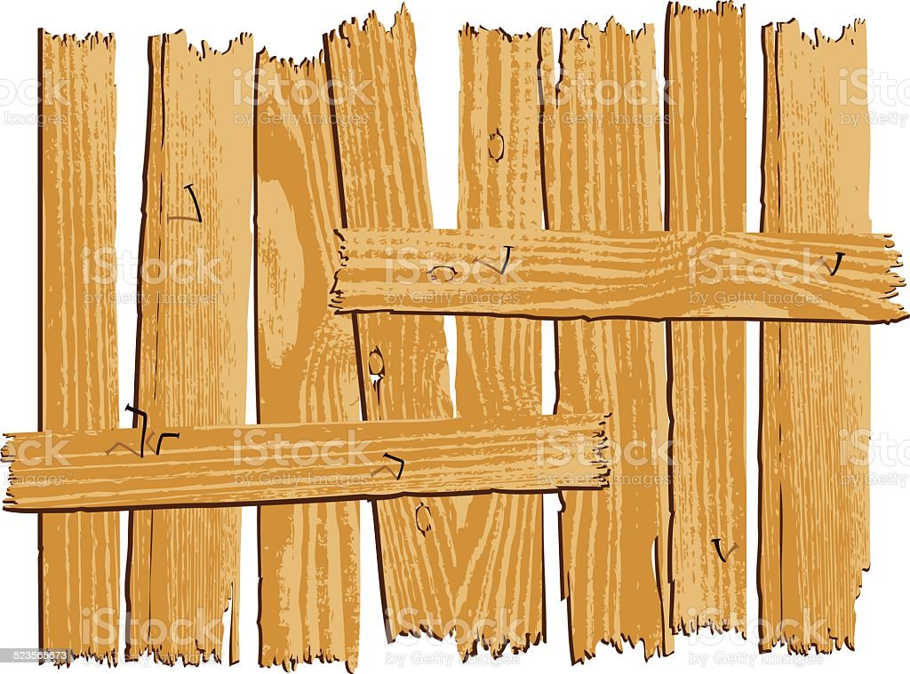 wooden fence vector art illustration