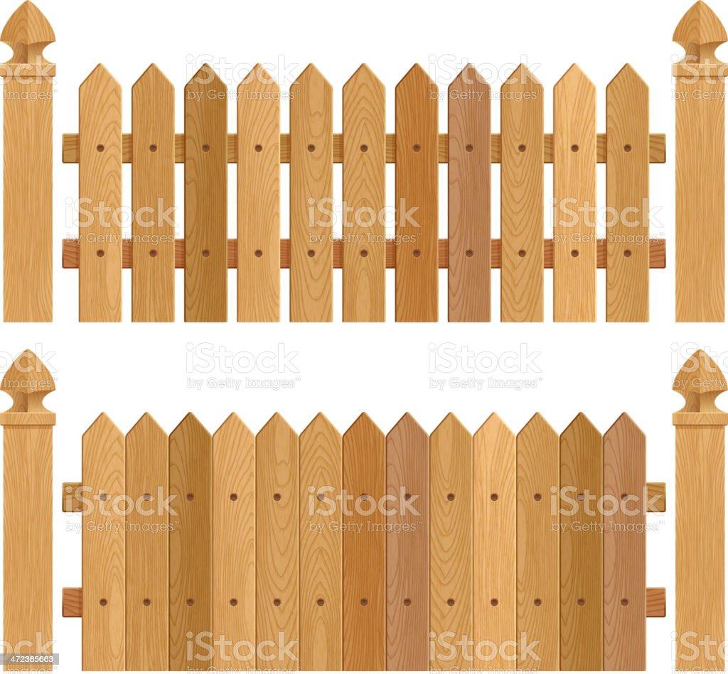 Wooden fence with columns - dark wood. vector art illustration