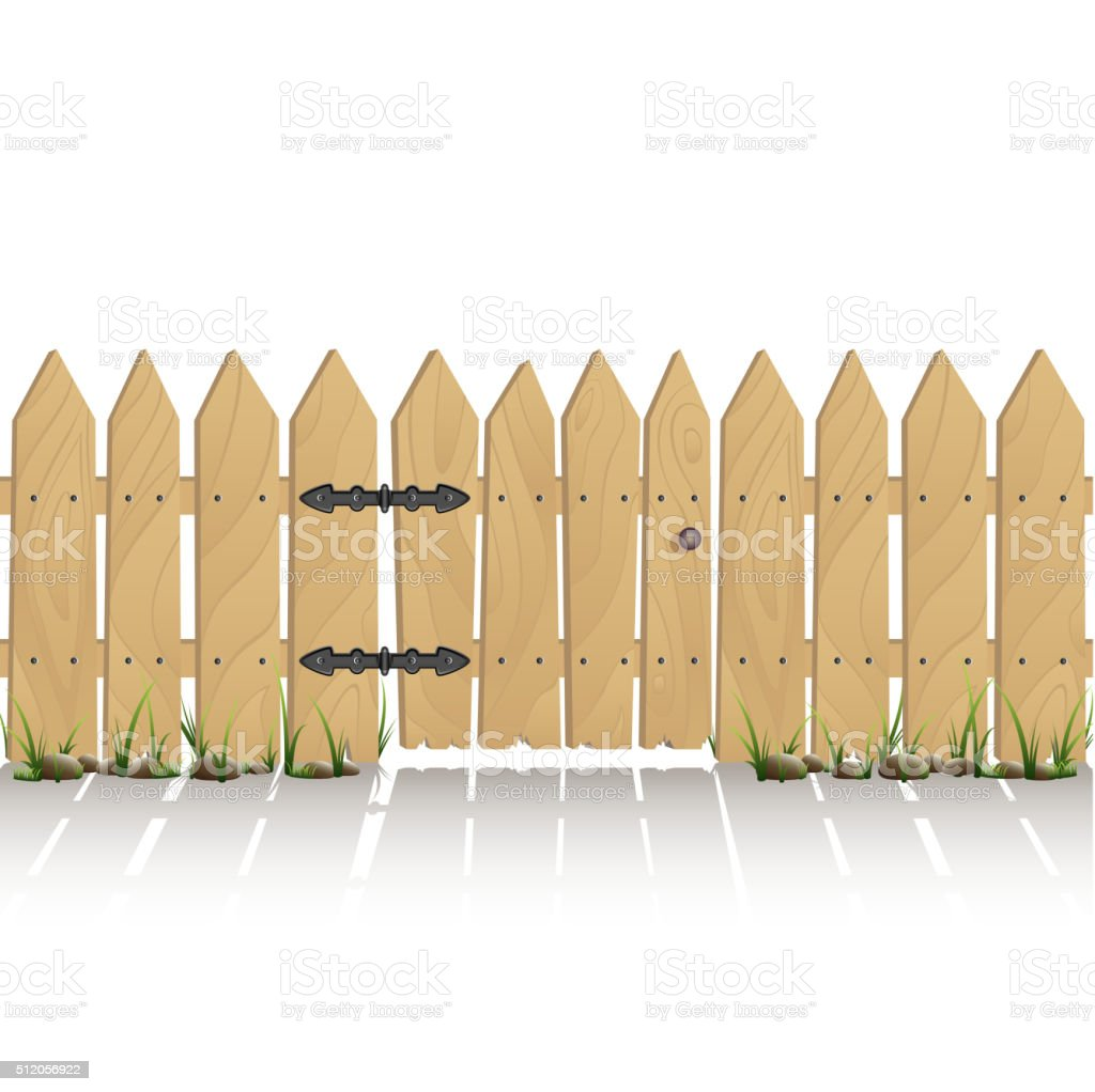 Wooden fence with gate vector art illustration