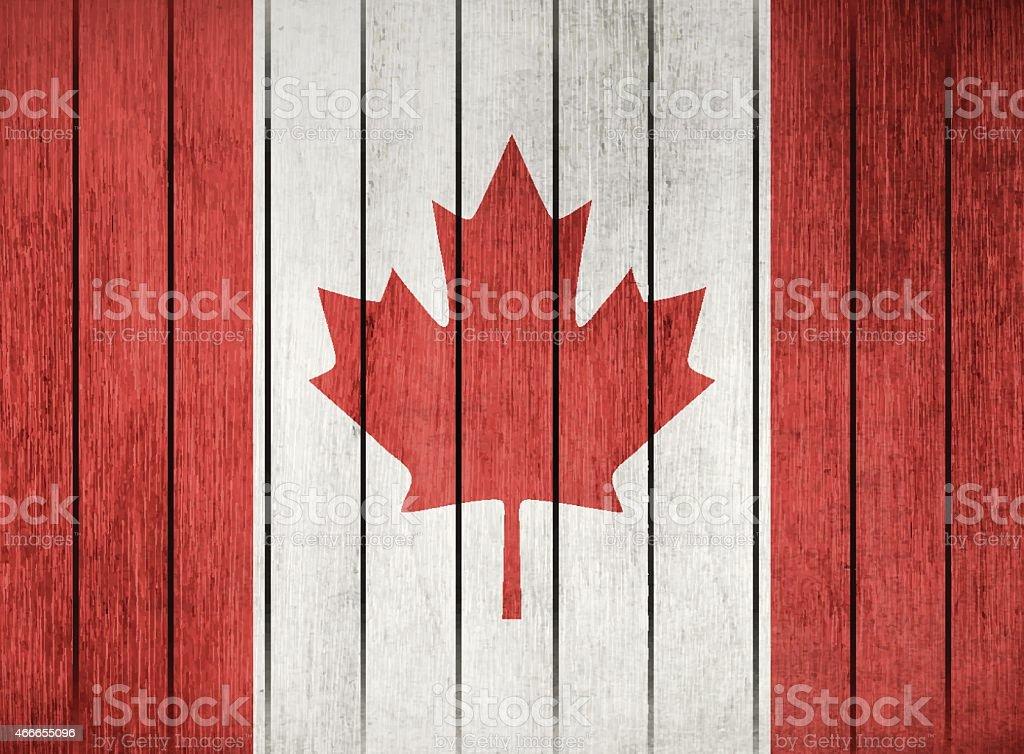 Wooden Flag Of Canada vector art illustration