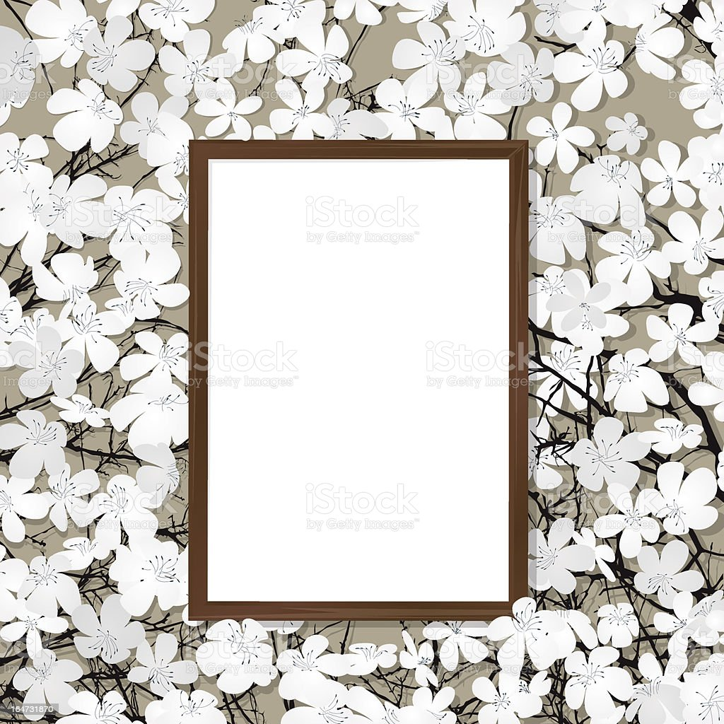 Wooden frame and flower royalty-free stock vector art