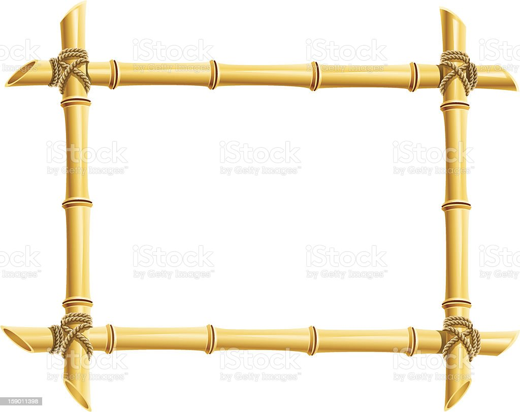 wooden frame of bamboo sticks vector art illustration