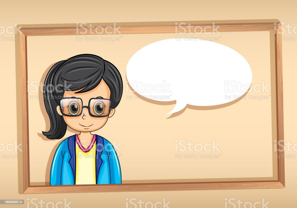 wooden frame with a strict businesswoman royalty-free stock vector art