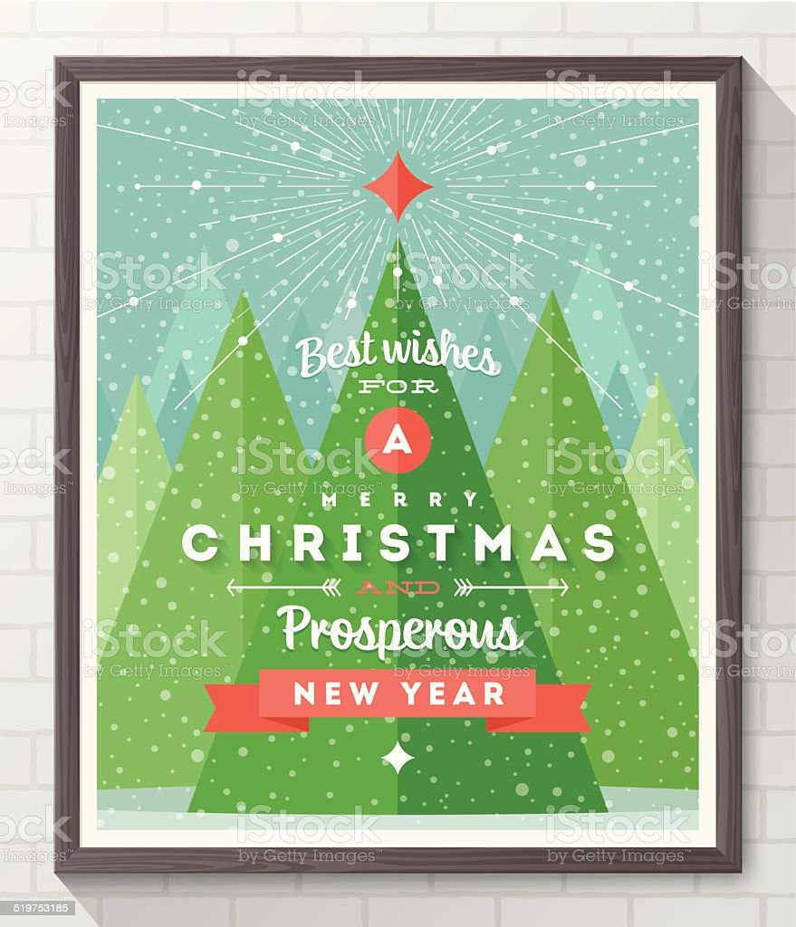 Wooden frame with flat and type design Christmas poster vector art illustration