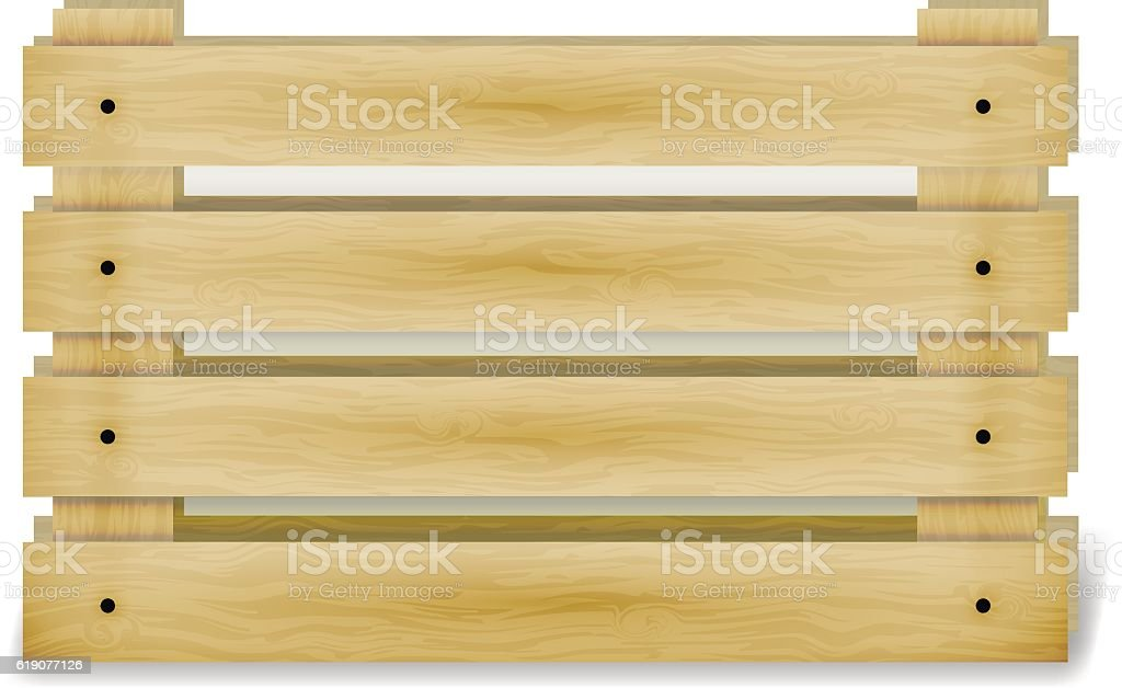 Wooden fruit box with holes. Crate for storage food vector art illustration