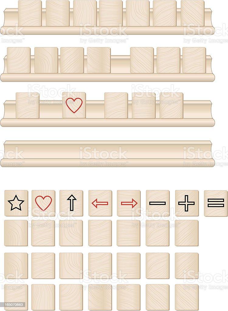 Wooden Gameboard Tiles royalty-free stock vector art