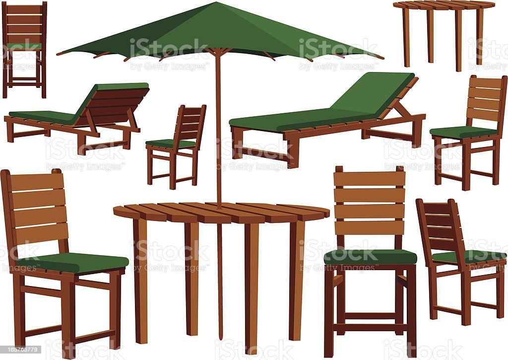 Wooden garden furniture and sun loungers vector art illustration