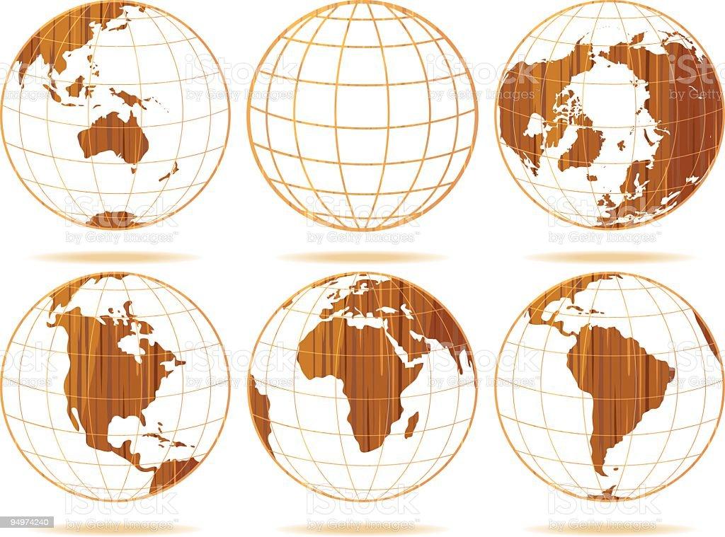 Wooden Globes vector art illustration
