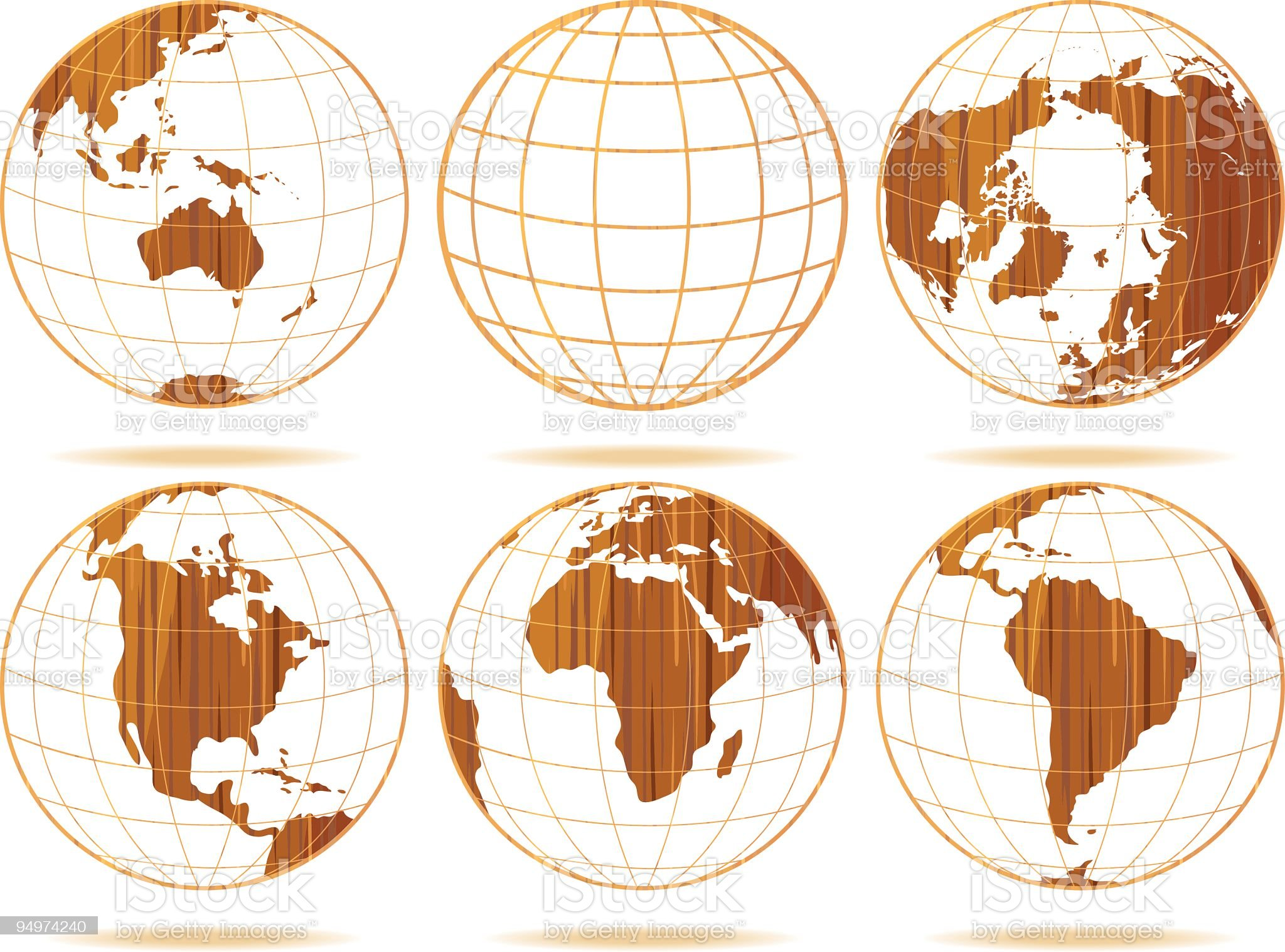 Wooden Globes royalty-free stock vector art