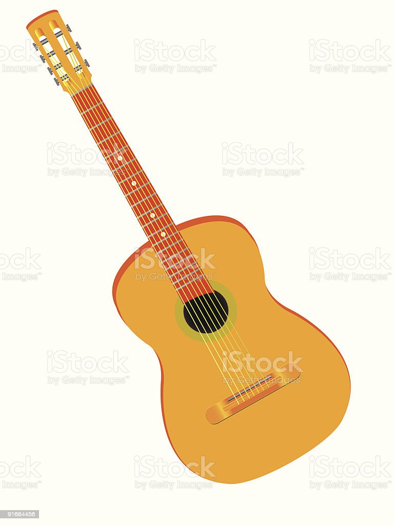 wooden guitar royalty-free stock vector art