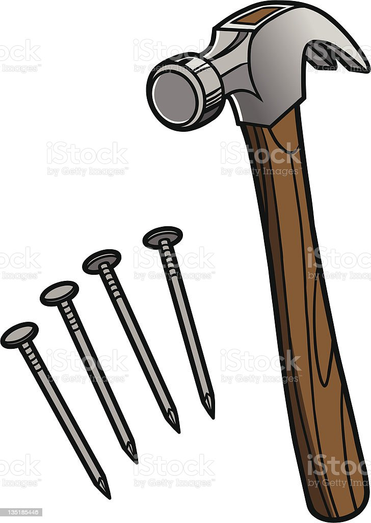 Wooden hammer with Iron nails  vector art illustration