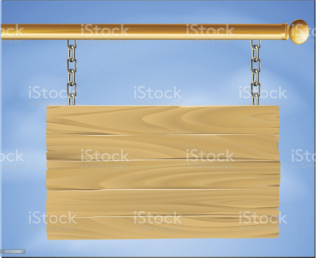 Wooden hanging sign royalty-free stock vector art