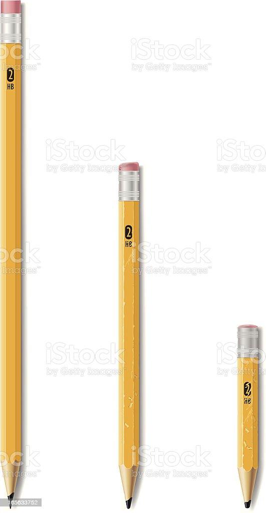 Wooden #2 HB pencils vector art illustration