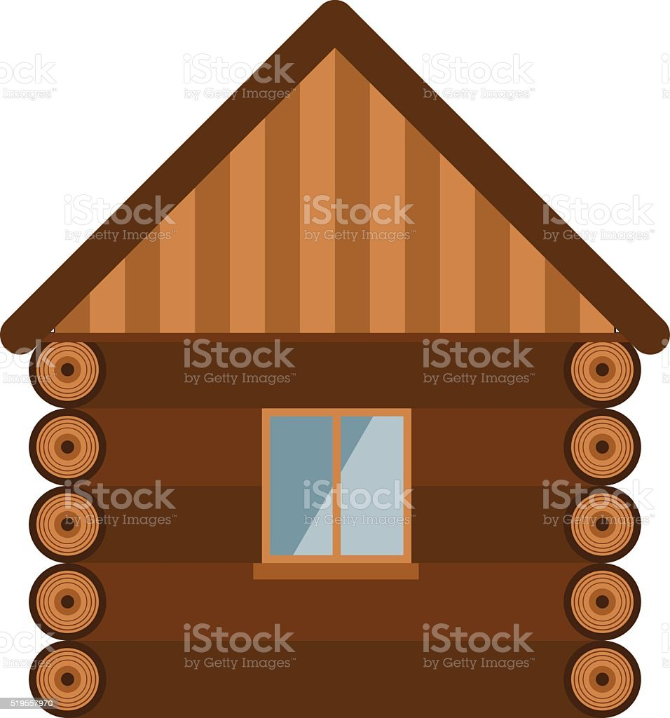 Wooden house architecture design estate old wall with glass window vector art illustration