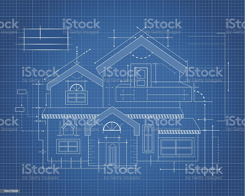 Wooden house Blueprint vector art illustration