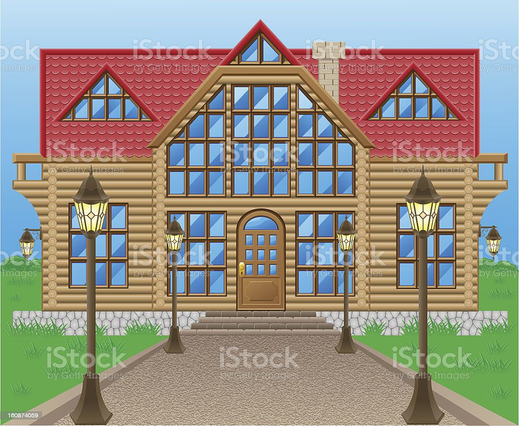 wooden house vector illustration royalty-free stock vector art