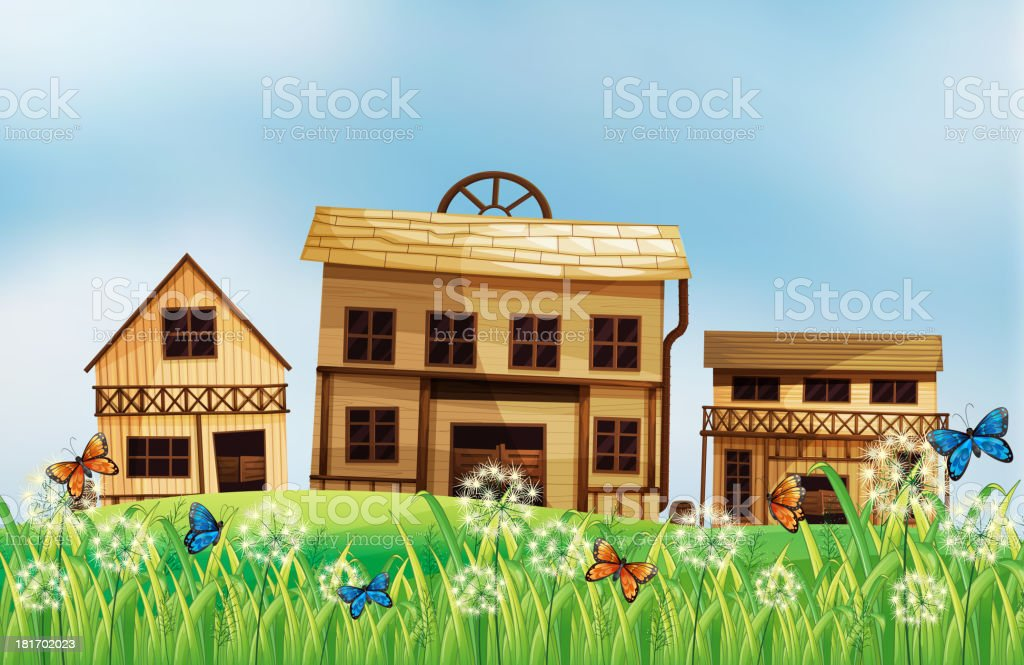 Wooden houses royalty-free stock vector art