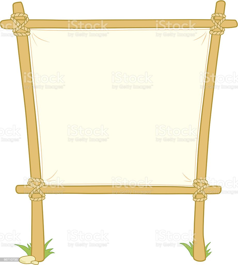 Wooden information board with grass on two pillars royalty-free stock vector art