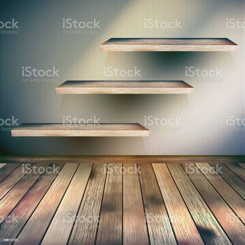 Interior wooden shelves free vector - Wooden Interior With Shelf Background Eps 10 Royalty Free Stock Vector Art