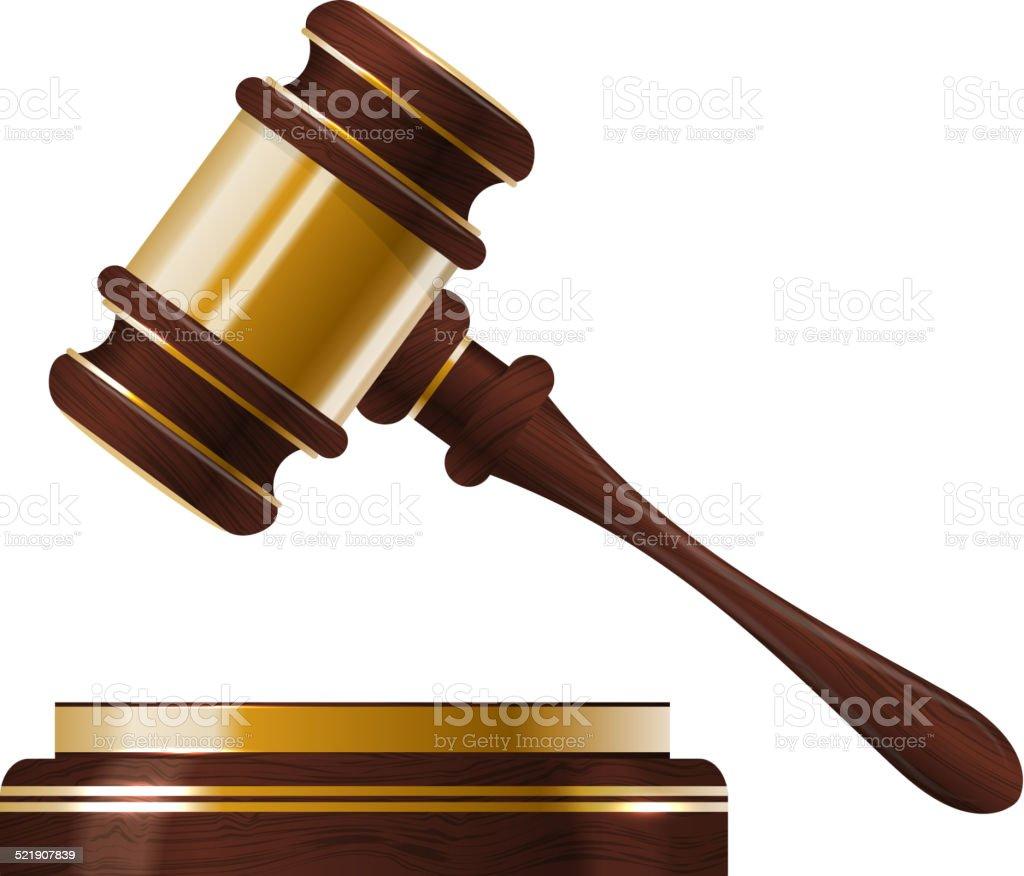 Wooden judges gavel vector art illustration