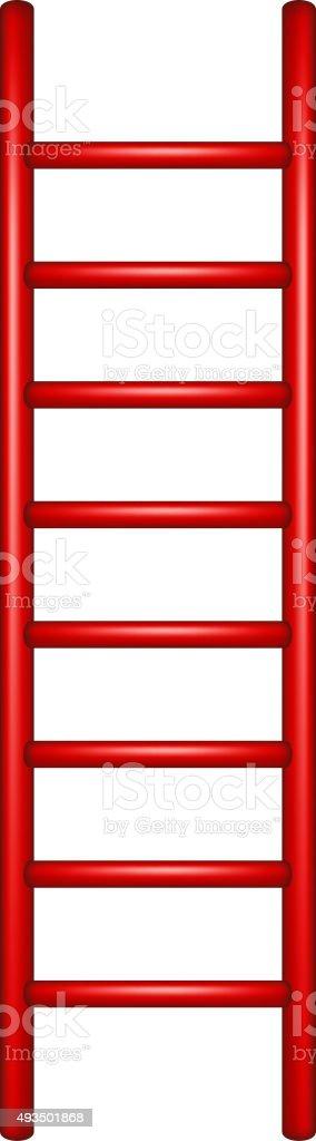 Wooden ladder in red design vector art illustration