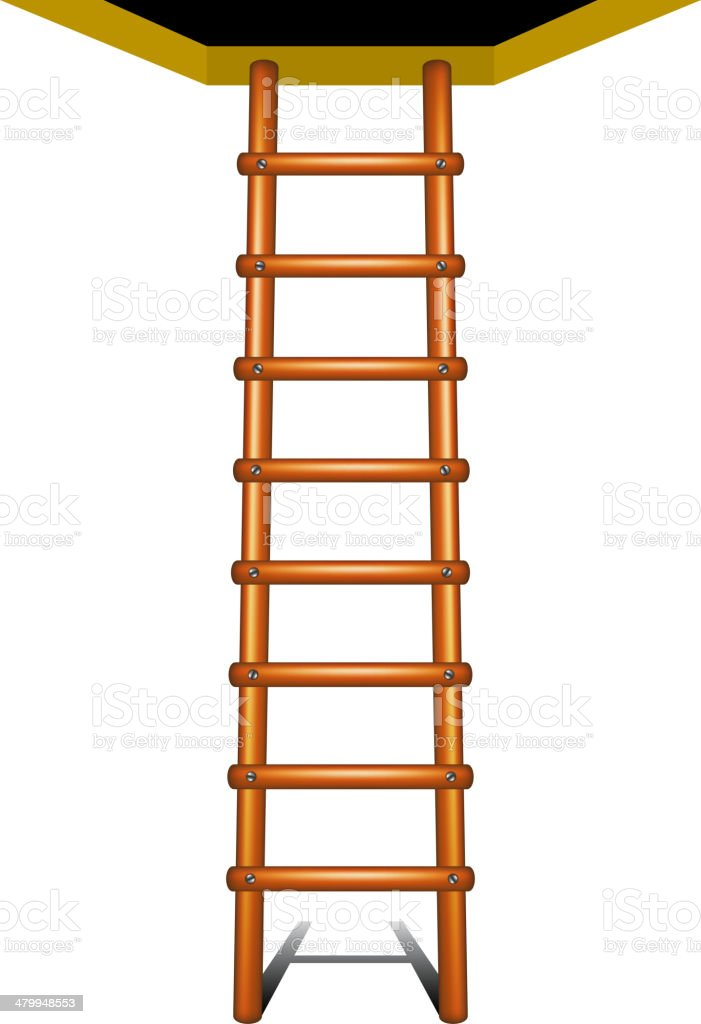 Wooden ladder leading up royalty-free stock vector art