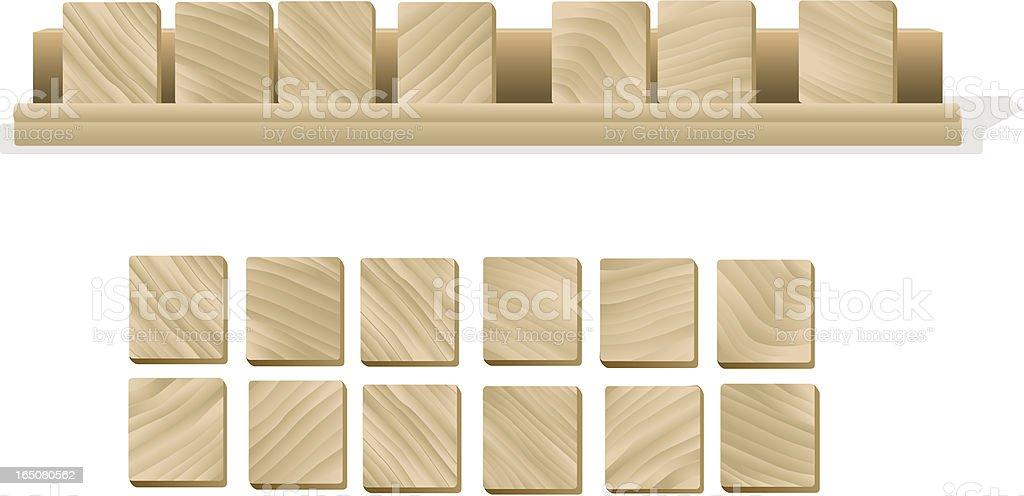 Wooden letter tiles royalty-free stock vector art