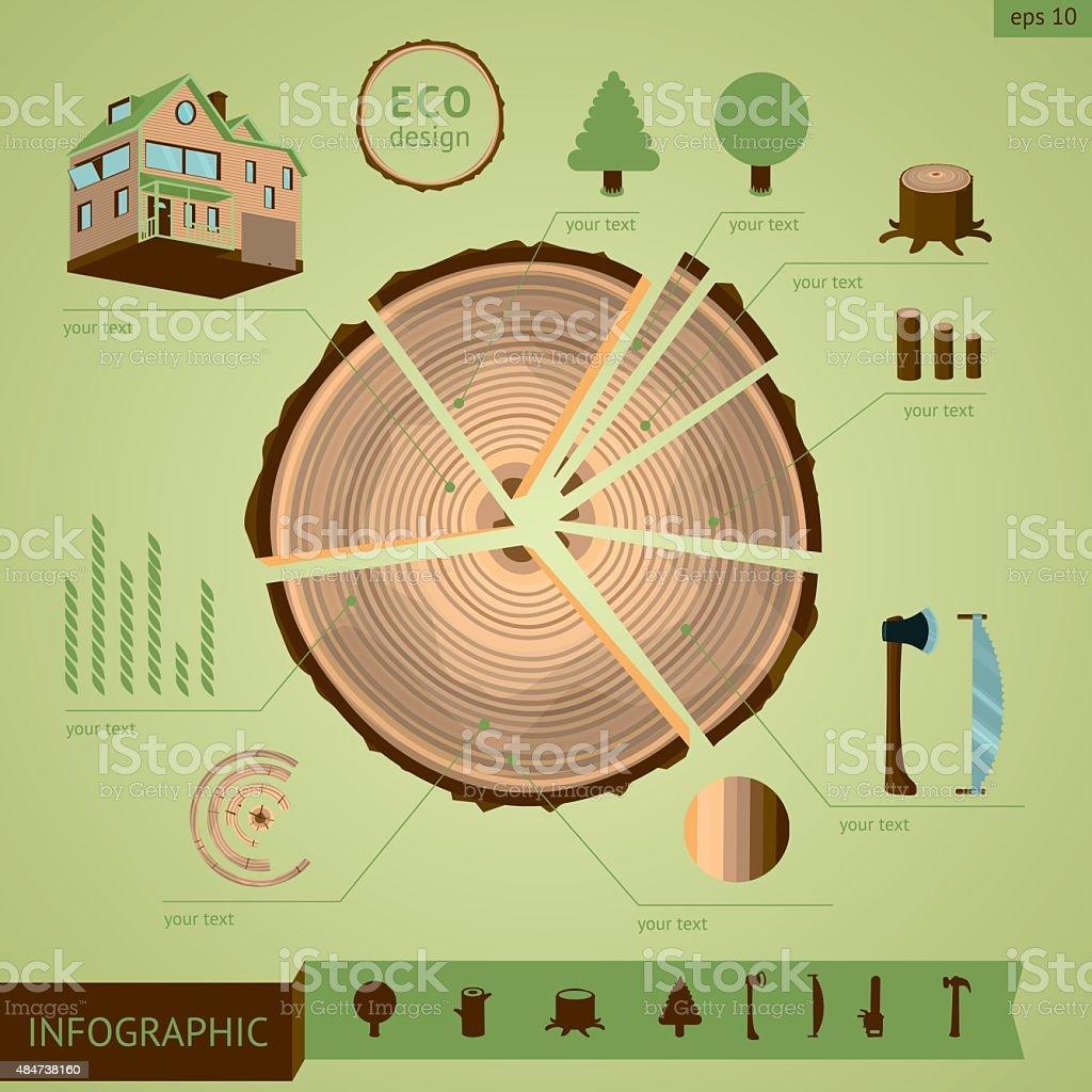Wooden log with design elements vector art illustration