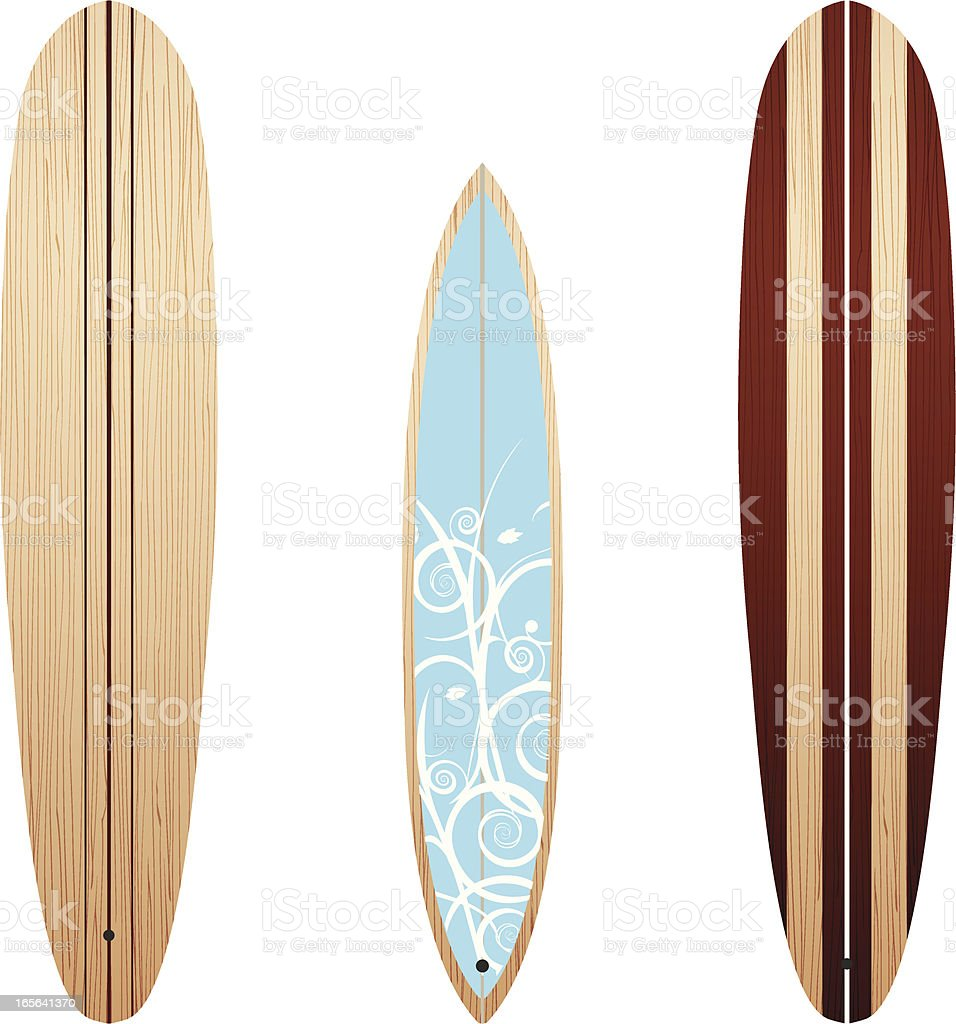 Wooden Longboards vector art illustration