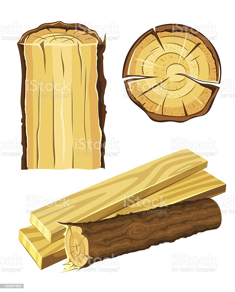 wooden material wood and board vector art illustration