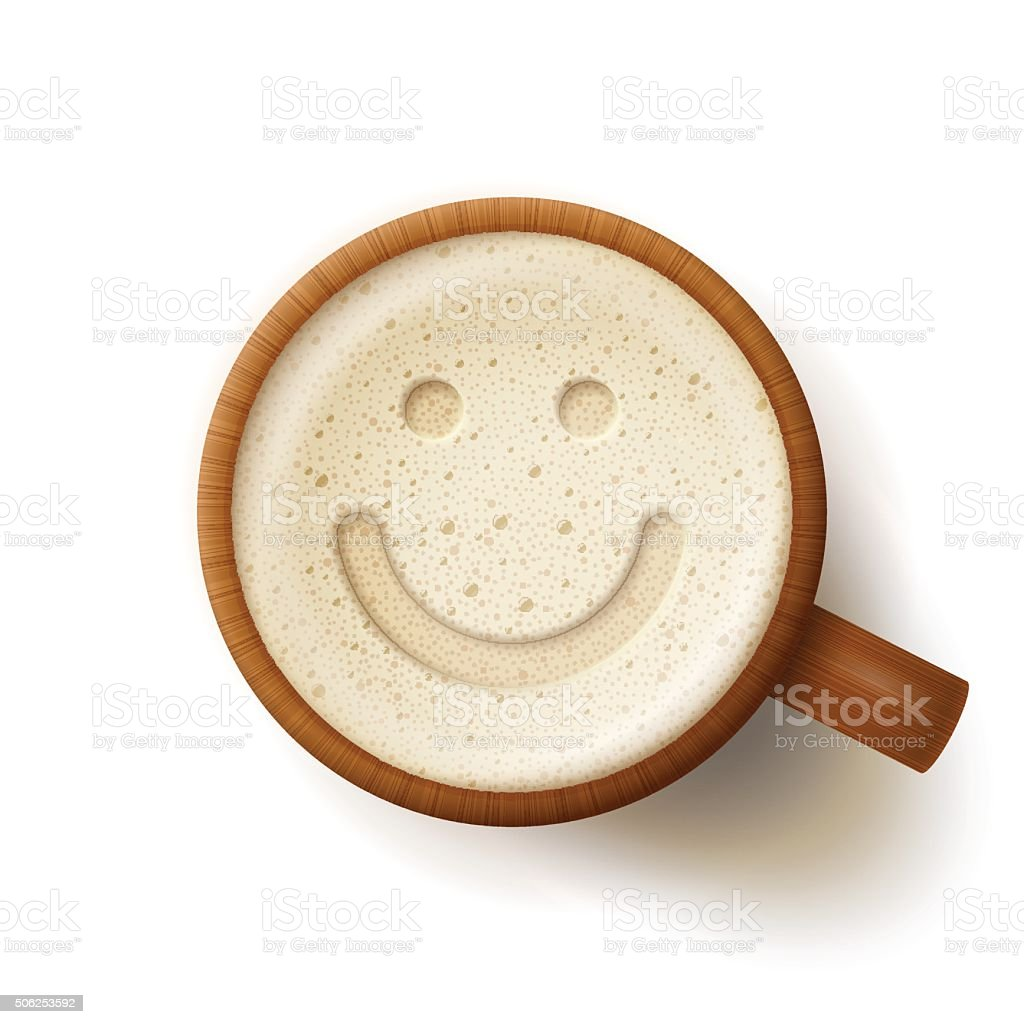 Wooden mug with frothy drink and smiling face vector art illustration