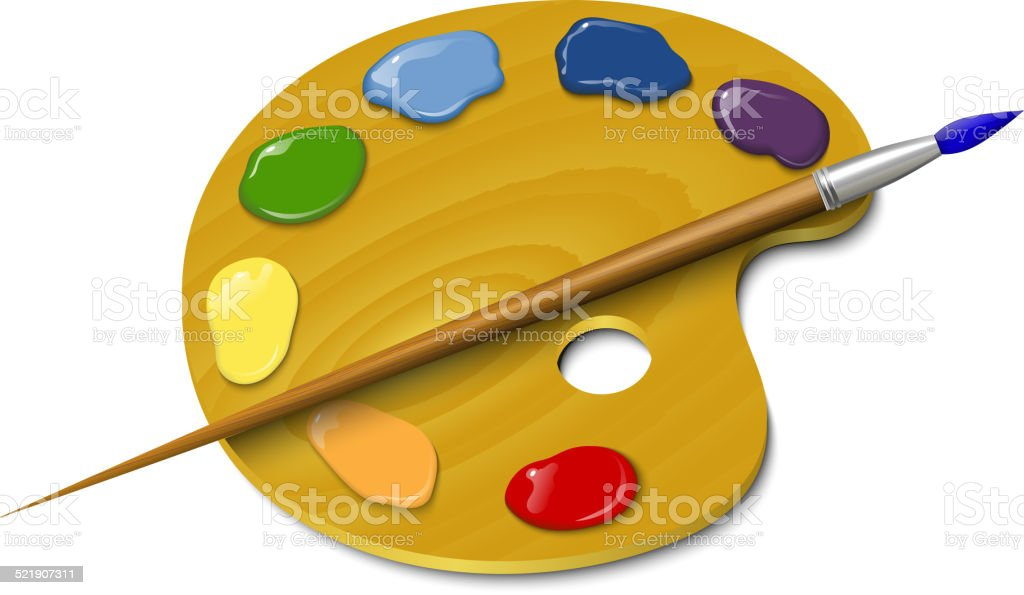 Wooden palette with a brush vector art illustration